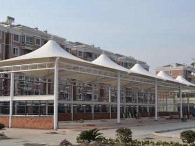 屋顶花园膜结构,屋顶遮阳膜结构,房产公司膜结构,小区花园膜结