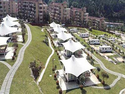 屋顶花园膜结构,屋顶遮阳膜结构,房产公司膜结构